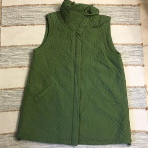 Eileen Fisher Green Silk Quilted Duster Vest Lg
